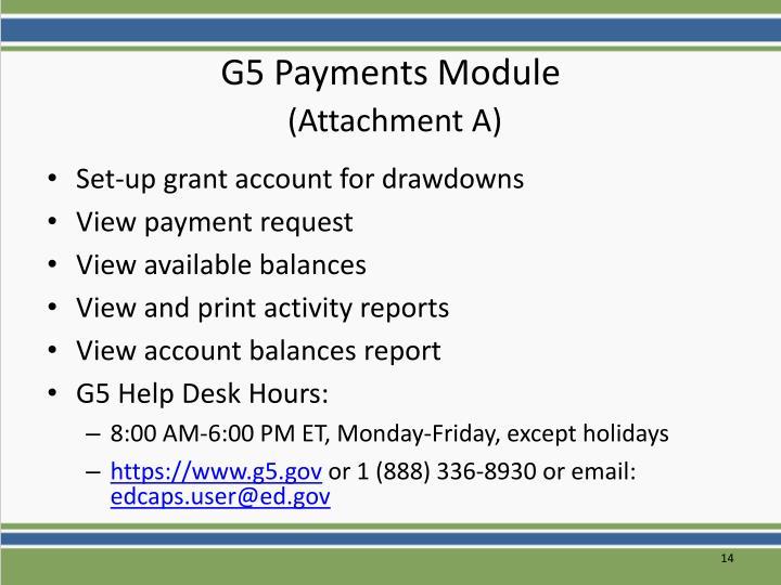 G5 Payments Module