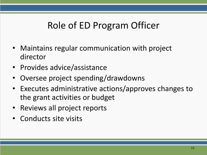 Role of ED Program Officer