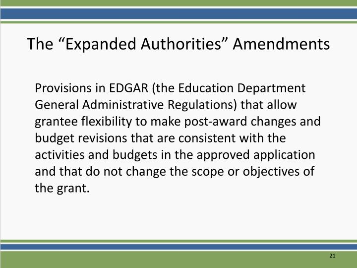 """The """"Expanded Authorities"""" Amendments"""
