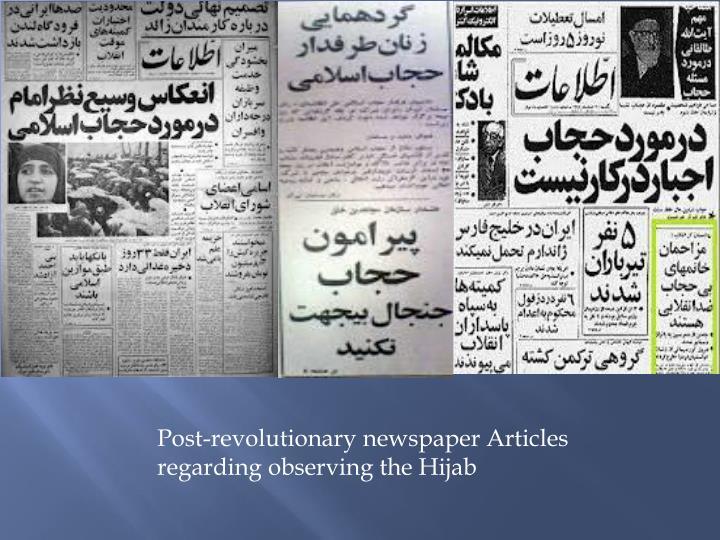 Post-revolutionary newspaper Articles regarding observing the Hijab