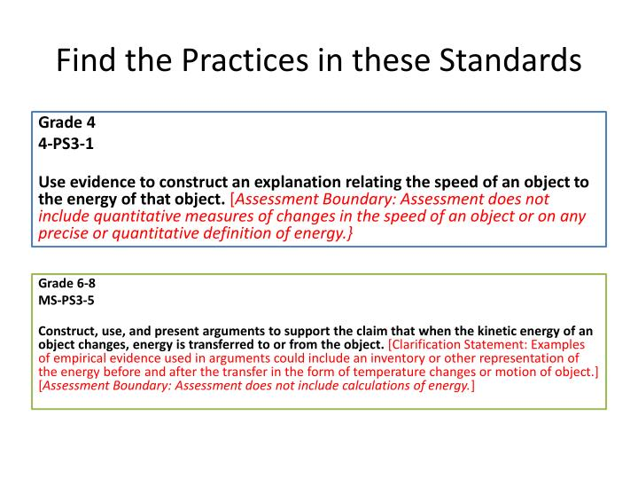 Find the Practices in these Standards