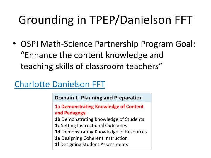 Grounding in TPEP/Danielson FFT