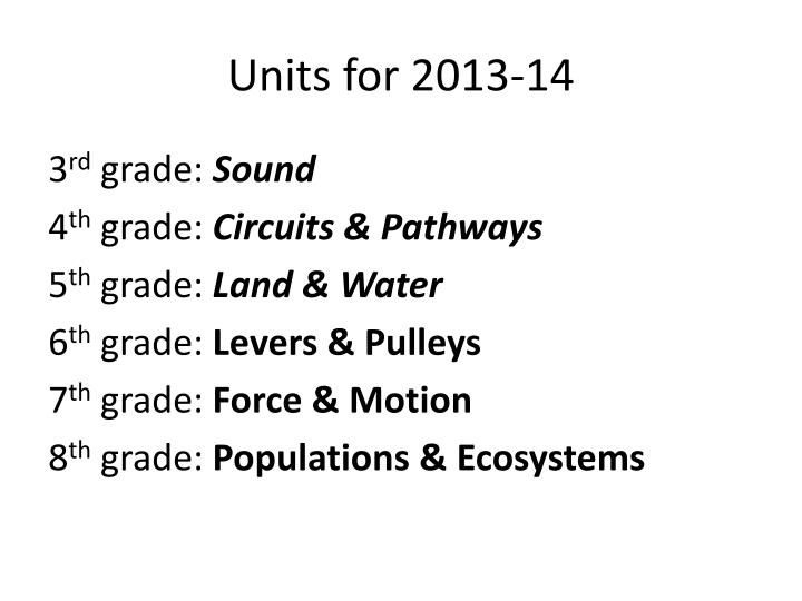 Units for 2013-14