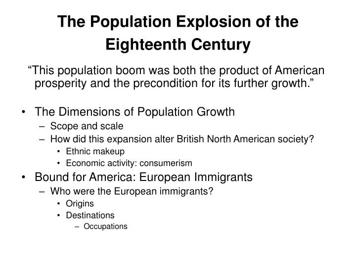The Population Explosion of the Eighteenth Century