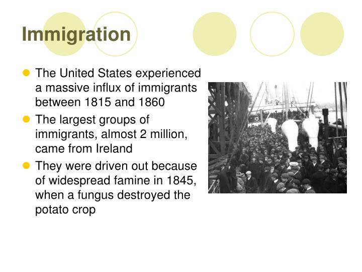 The United States experienced a massive influx of immigrants between 1815 and 1860