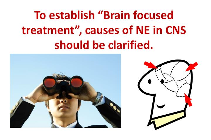 """To establish """"Brain focused treatment"""", causes of NE in CNS should be clarified."""