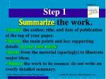 step 1 summarize the work
