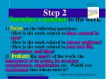 step 2 formulate a response to the work