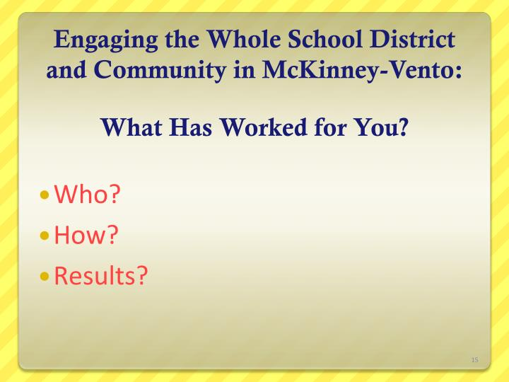 Engaging the Whole School District and Community in McKinney-Vento: