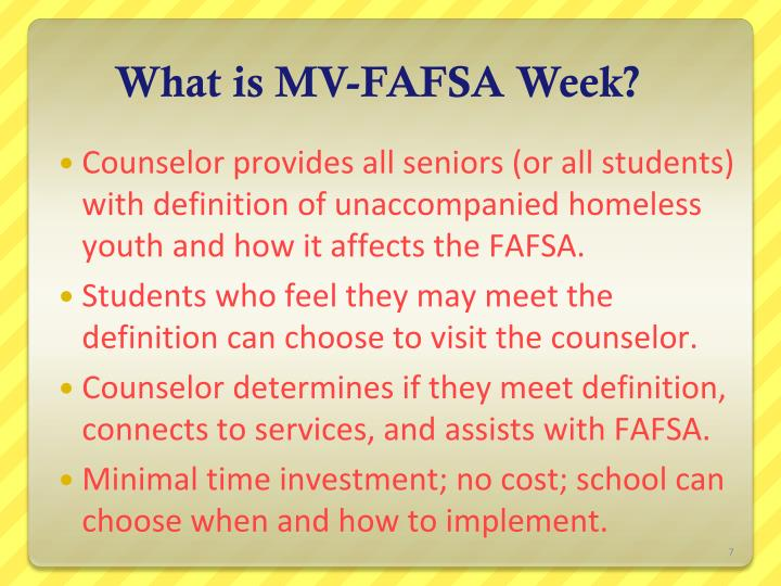 What is MV-FAFSA Week?