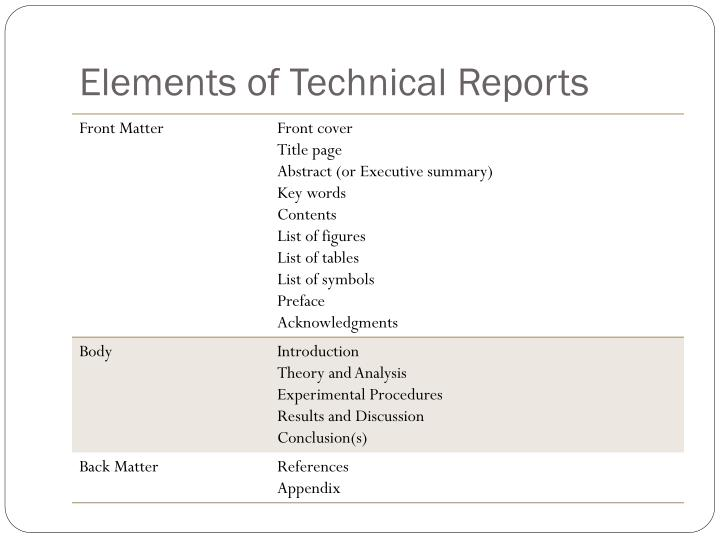 Elements of Technical Reports