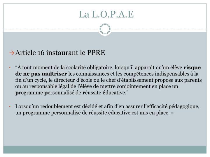 La L.O.P.A.E