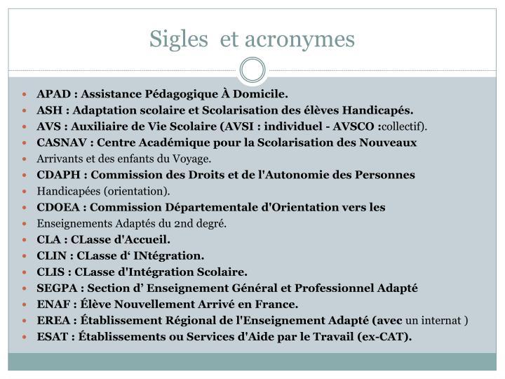 Sigles  et acronymes
