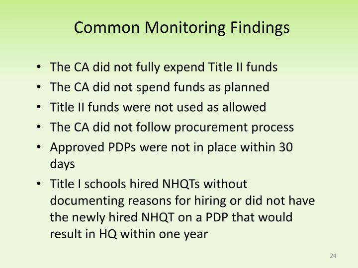 Common Monitoring Findings