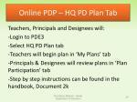 online pdp hq pd plan tab