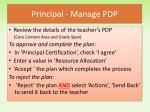 principal manage pdp