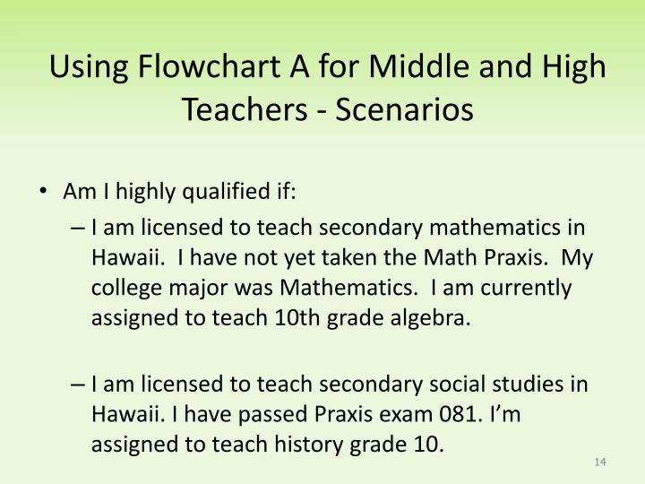 Using Flowchart A for Middle and High  Teachers - Scenarios