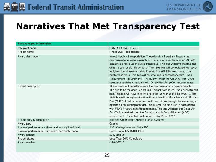 Narratives That Met Transparency Test