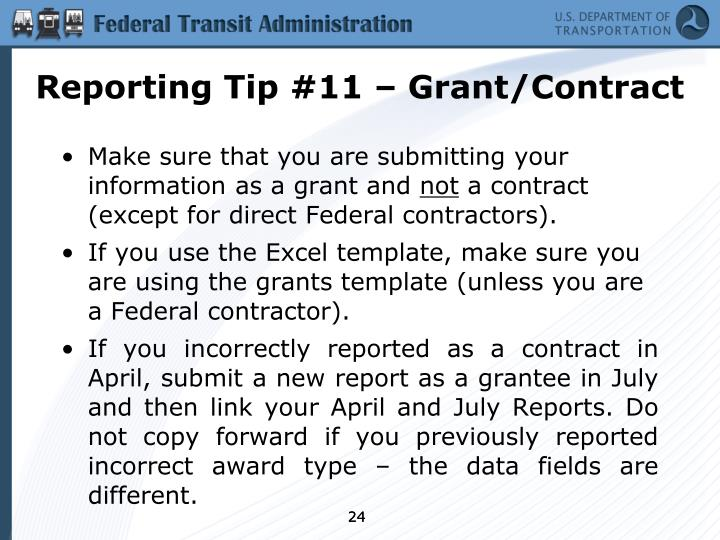 Reporting Tip #11 – Grant/Contract
