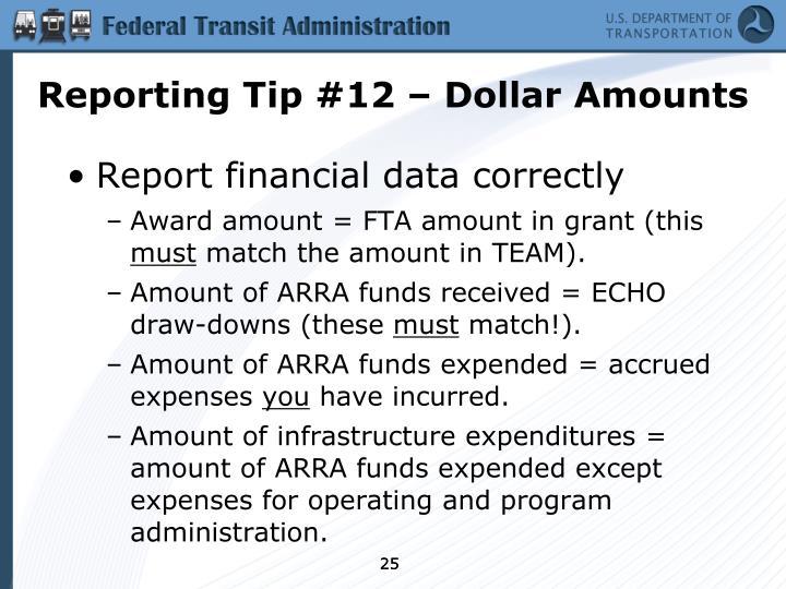 Reporting Tip #12 – Dollar Amounts
