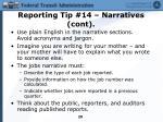 reporting tip 14 narratives cont