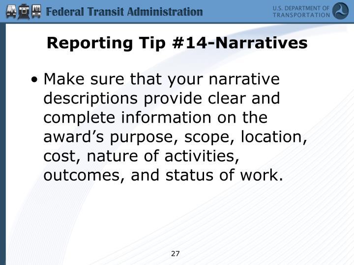 Reporting Tip #14-Narratives