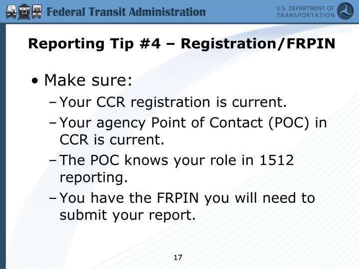 Reporting Tip #4 – Registration/FRPIN