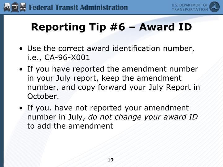 Reporting Tip #6 – Award ID