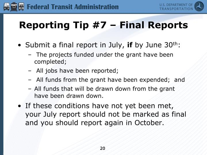 Reporting Tip #7 – Final Reports