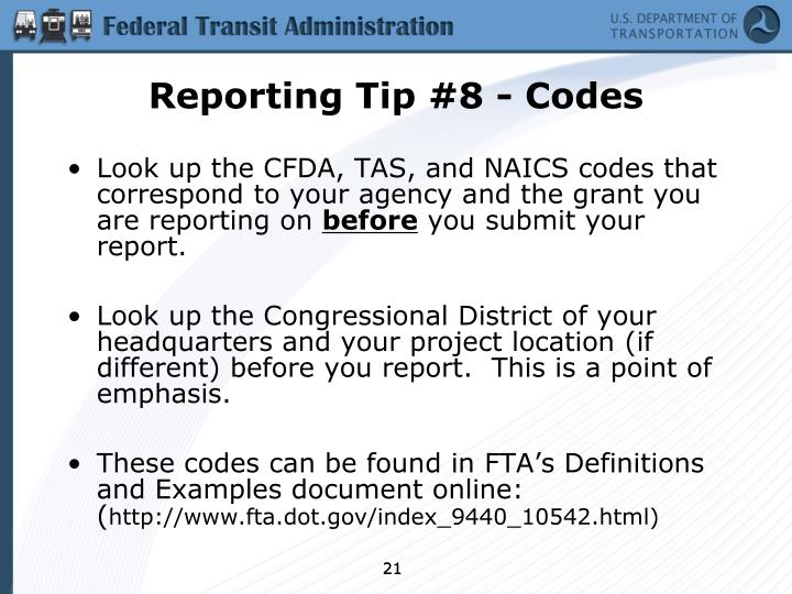 Reporting Tip #8 - Codes
