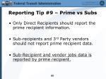 reporting tip 9 prime vs subs