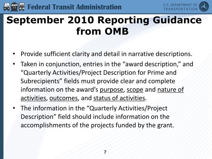 September 2010 Reporting Guidance from OMB
