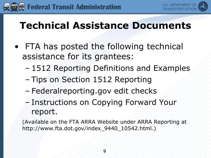Technical Assistance Documents
