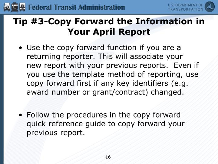 Tip #3-Copy Forward the Information in Your April Report