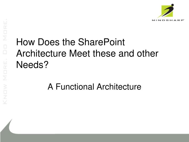 How Does the SharePoint Architecture Meet