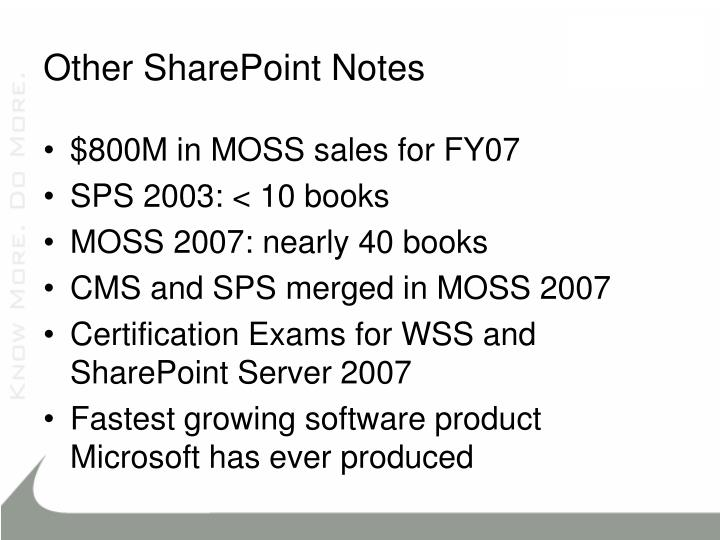 Other SharePoint Notes