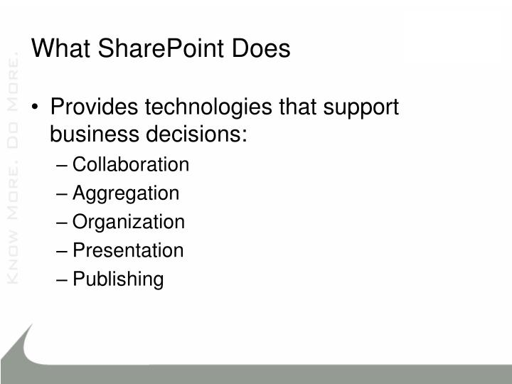 What SharePoint Does