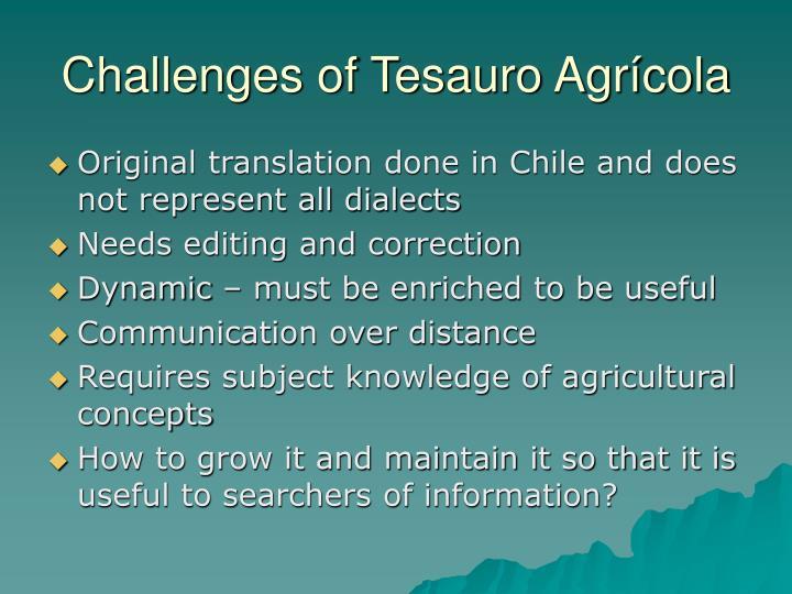 Challenges of Tesauro Agrícola