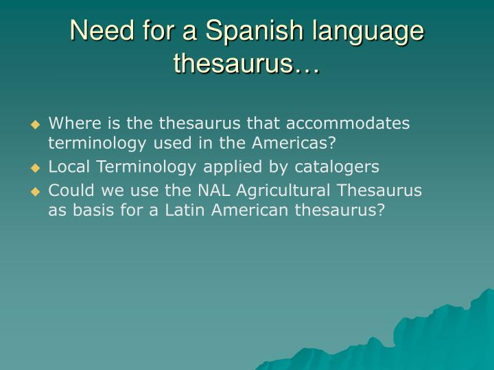 Need for a Spanish language thesaurus…