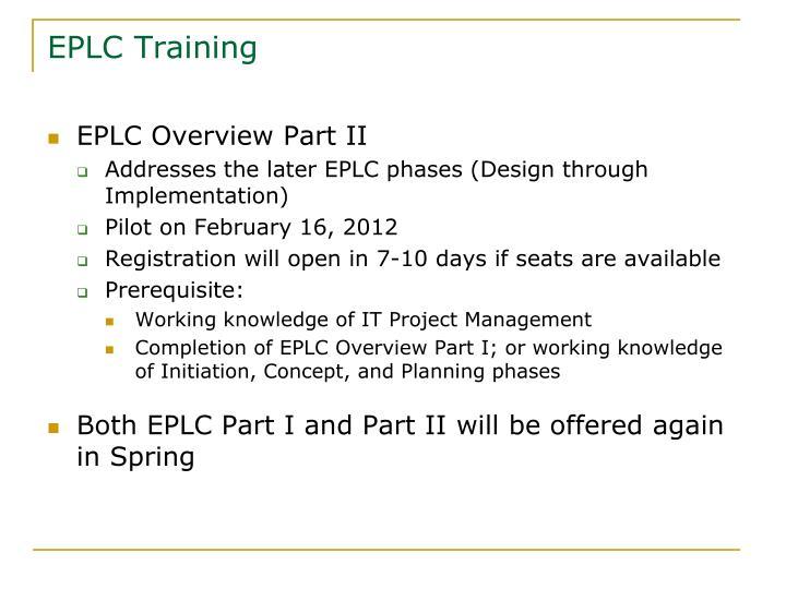 EPLC Training