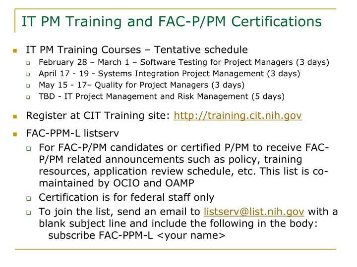 IT PM Training and FAC-P/PM Certifications
