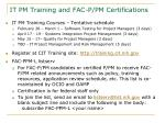 it pm training and fac p pm certifications