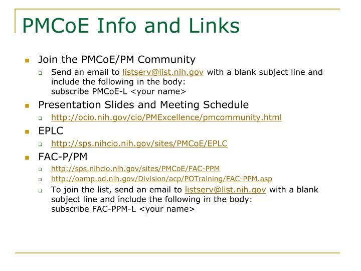 PMCoE Info and Links