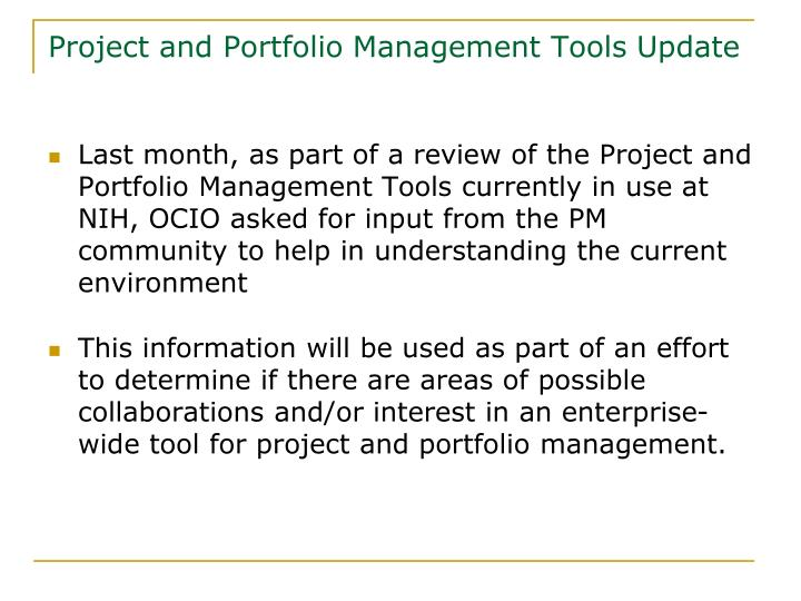 Project and portfolio management tools update