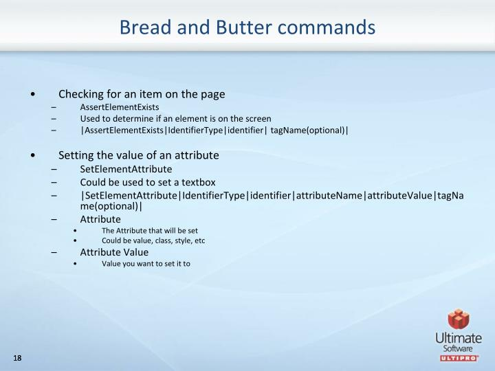 Bread and Butter commands