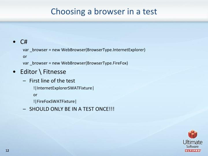 Choosing a browser in a test