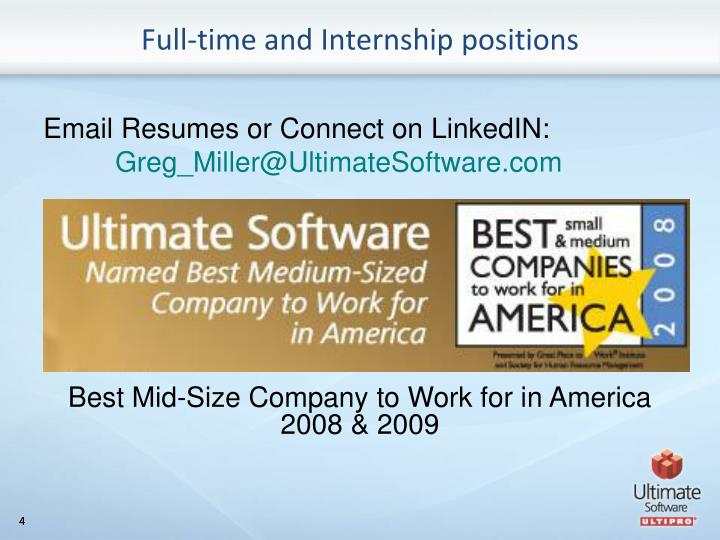 Full-time and Internship positions