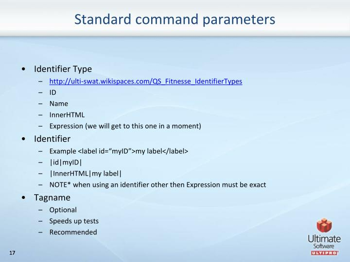 Standard command parameters