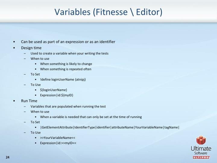 Variables (Fitnesse \ Editor)