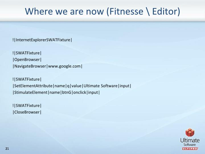 Where we are now (Fitnesse \ Editor)